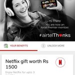 "#Airtel is offering FREE @NetflixIndia's 3-month basic ₹500 per month subscription for its existing postpaid subscribers under ₹499, ₹649, ₹799, ₹1,199, ₹1,599, or ₹1,999 plans. Claim it by opening the #MyAirtel app & click on ""thanks"" banner."