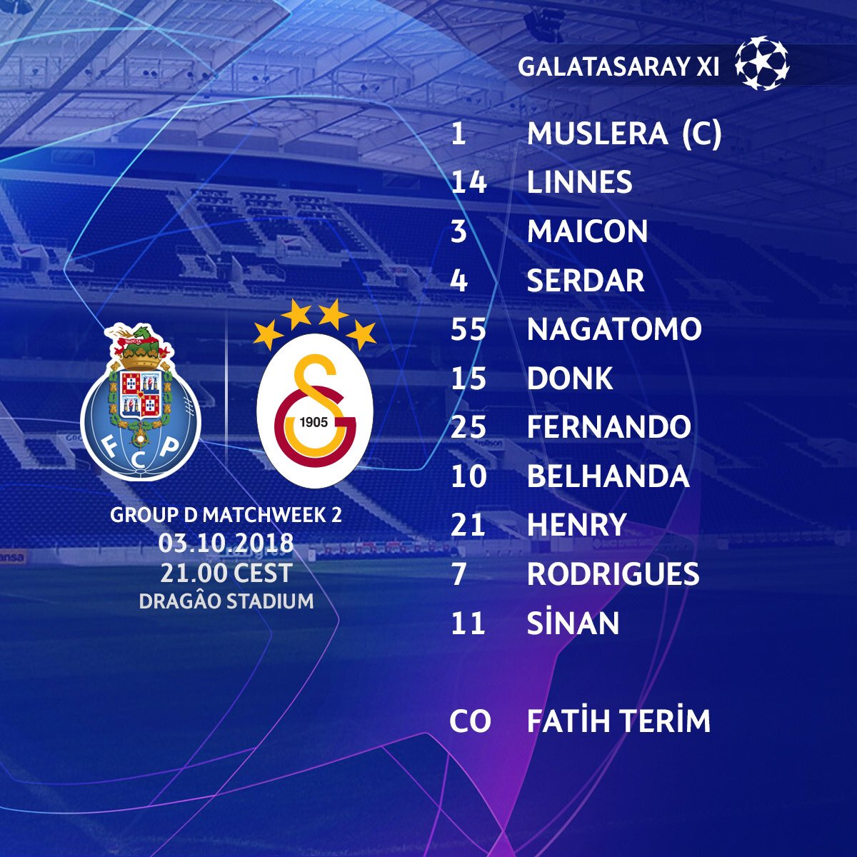 Starting eleven of the night.