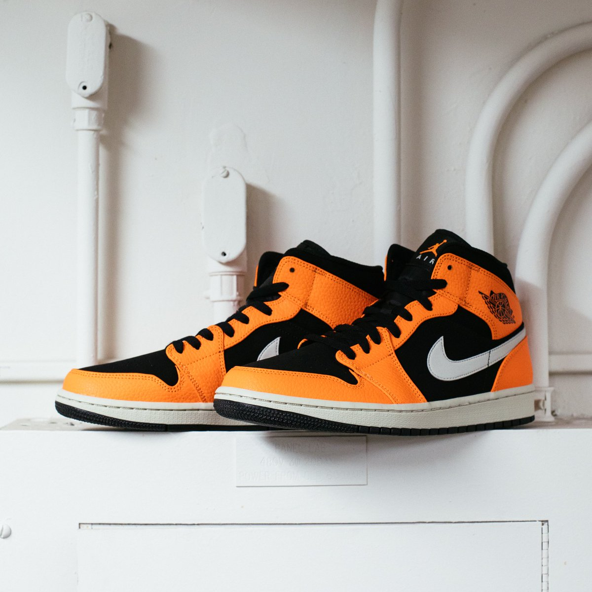 """400af0dda48 Air Jordan 1 Mid """"Black Cone Light Bone""""    Available now at All Undefeated  Chapter Storespic.twitter.com RXFm4uyK19"""