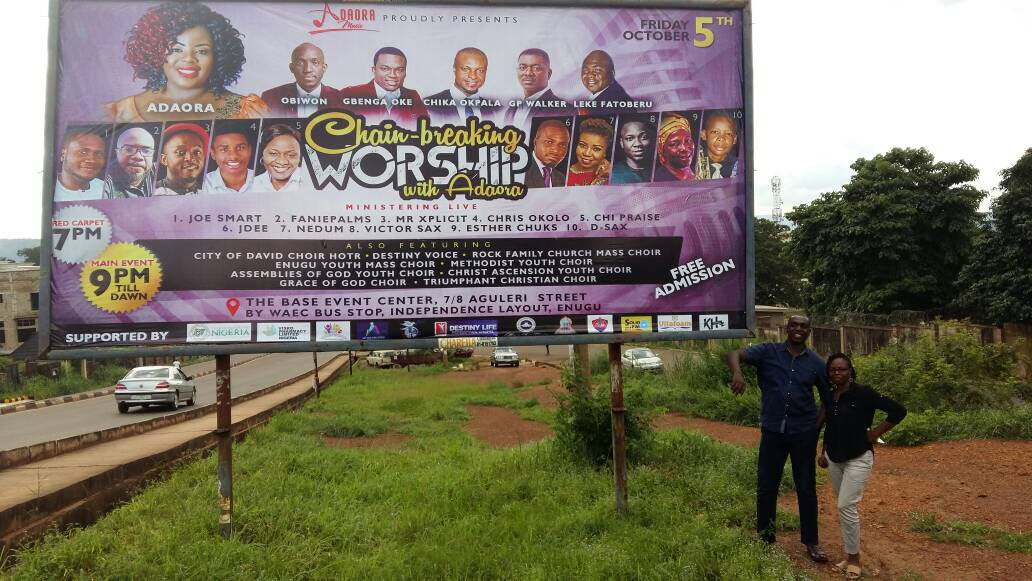 "Adaora on Twitter: ""It becomes surreal when you see the billboard. . #thankful #thankGod #Godisgood #chainbreakingworship #twomoredays #twodays #twodayatogo ..."