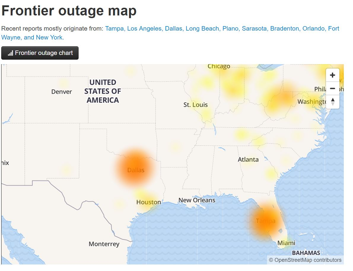 There Ears Be A Problem With Frontier Fios And Dsl In The Tampa Lakeland Orlando Areas Multiple Client Sites Reporting Outages That All Demonstrate