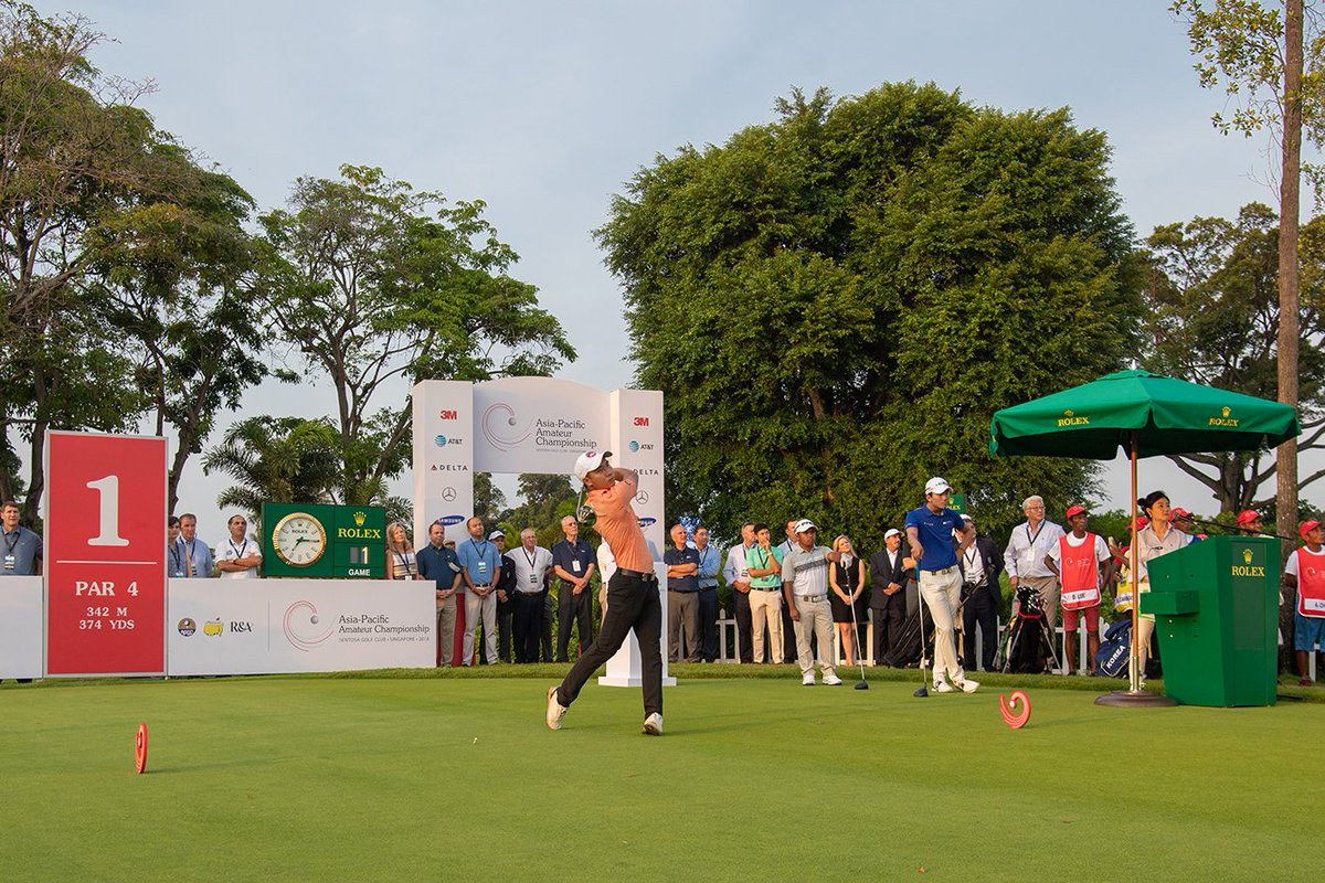 The 10th @AAC_Golf is underway at Sentosa Golf Club in Singapore! Go to AACgolf.com for scores and video, and to see who will earn an invite to the 2019 Masters. #AAC2018