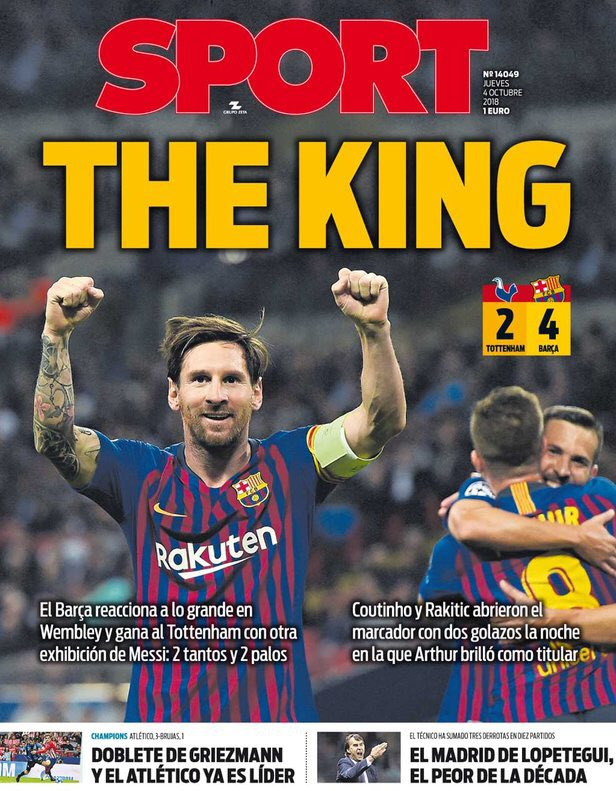 The Spanish Football Podcast On Twitter Today S Headlines In Barcelona Sport Call Leo Messi The King While Mundo Deportivo Go With Wembleo