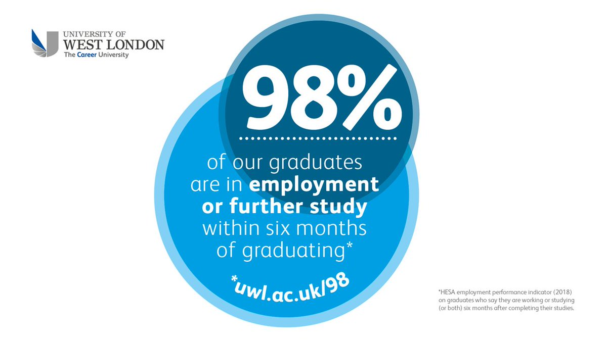 Uni Of West London On Twitter There S A Reason We Call Ourselves The Career University 98 Of Graduates Are In Employment Or Further Education Within 6 Months Of Graduating Hesa 2016 17 Book