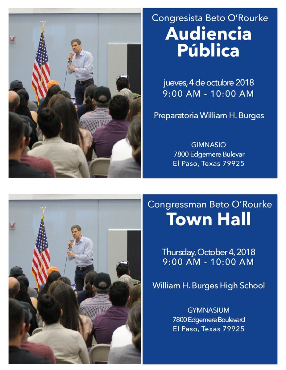 One hour away from our town hall at the William H. Burges High School Gymnasium in El Paso. Looking forward to hearing what's on your mind.