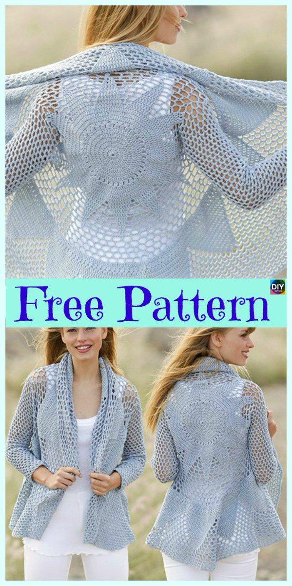 Beesdiy On Twitter 15 Unique Crochet Circular Jacket Free Patterns