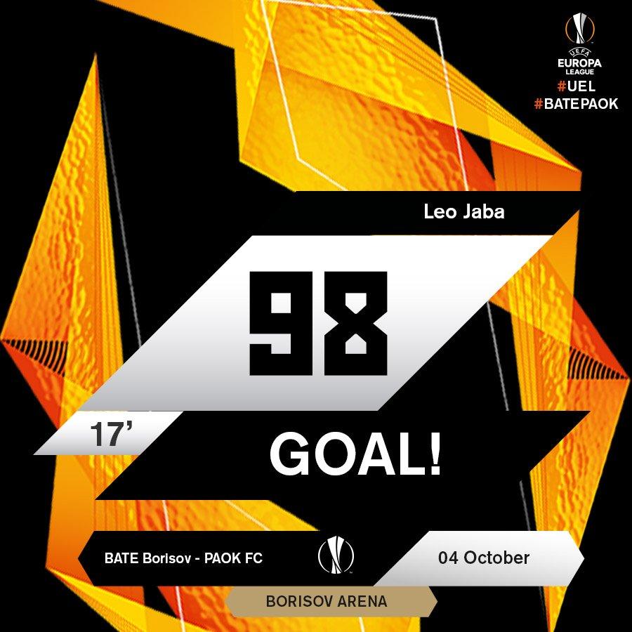 17  Goooooaaaaallll!!!!!  Jaba strikes again!  BATEPAOK 0-3  UEL  FCBATE   EuropaLeague https   t.co 1HIlqw6A7i  Halftime at Borisov Arena. e3d2c5d2fff