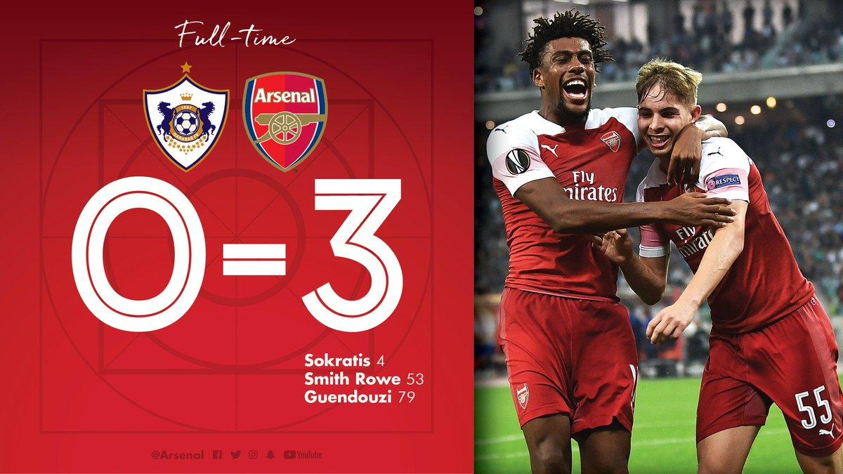 Chấm điểm kết quả Qarabag 0-3 Arsenal