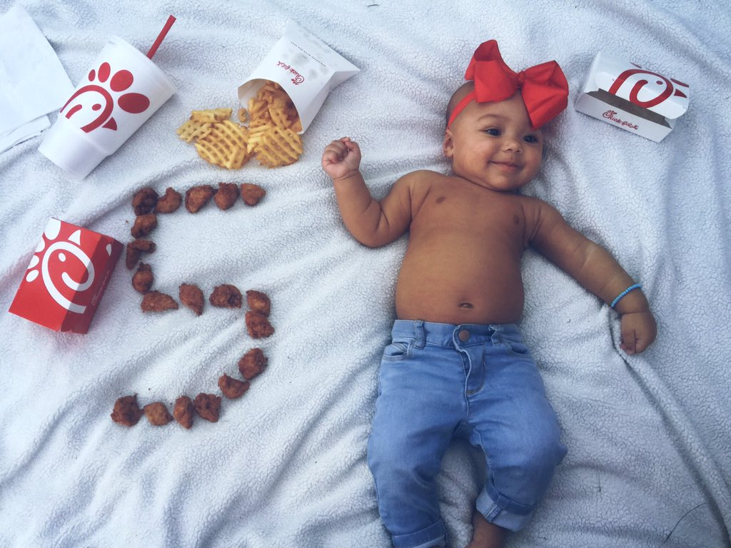 I figured I'd bring it to Twitter now. My sweet little nugget made 5 months 🐔❤️