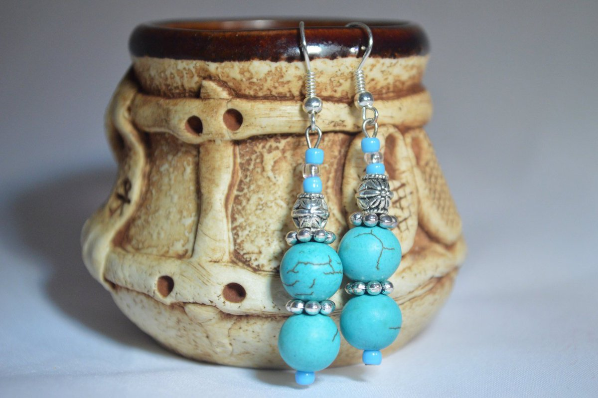 Alla On Twitter Sold Long Turquoise Earrings Drop Handmade Dangle Bohemian Etsy Craftychaching Etsymntt