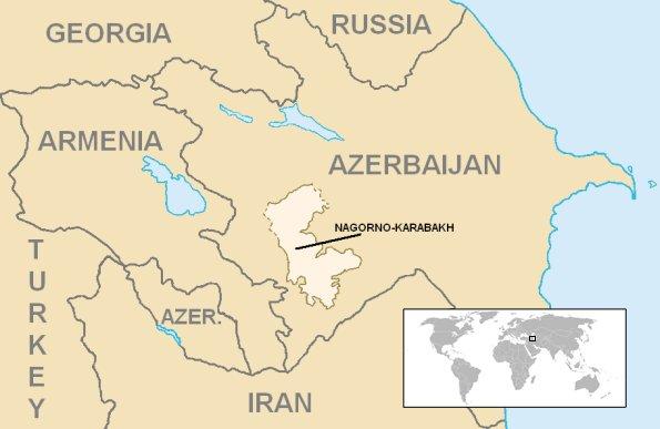 A República de Artsakh é hoje reconhecida como parte do Azerbaijão. Ela não faz fronteira direta com a Armênia, tem um maioria étnica armênia e hoje possui um governo independente, mesmo ficando dentro de território azerbaijano.