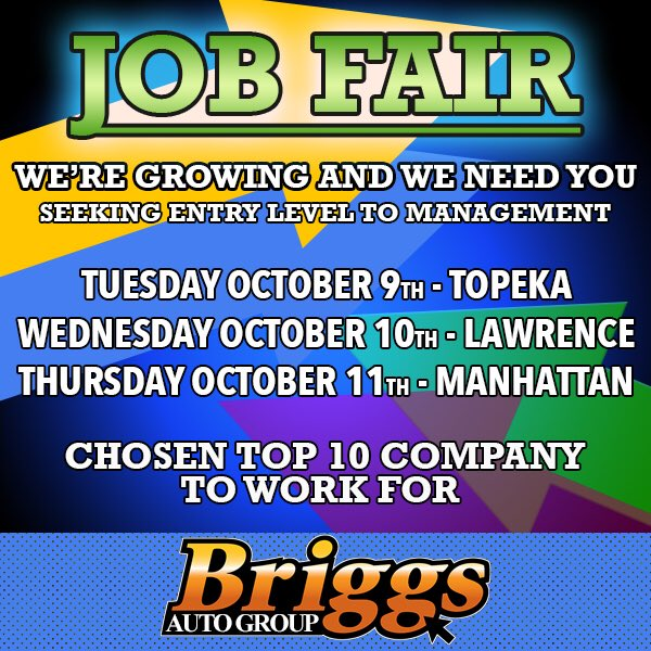 Briggs Auto On Twitter We Re Hiring Tuesday Oct 9 6pm Briggs