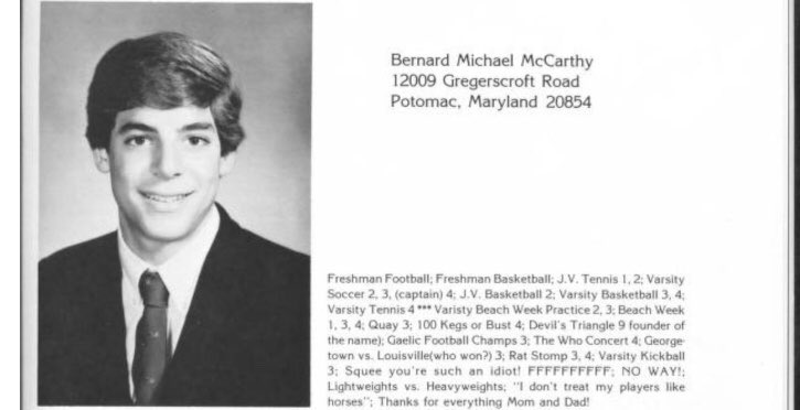 80s Georgetown Prep Yearbook Post Claiming Credit For Inventing The Devils Triangle Chaser Bernard McCarthys New Letter To Judiciary