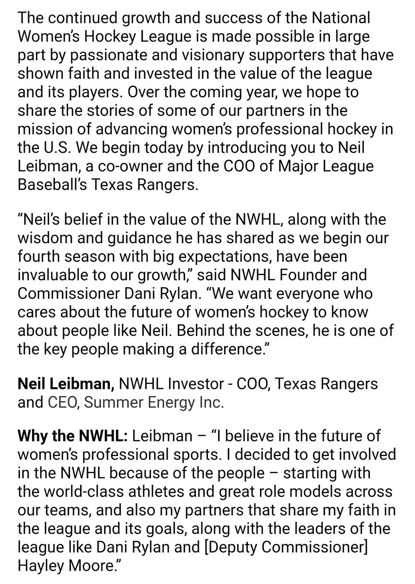 08bb1b16 The co-owner and COO of the Texas @Rangers, Neil Leibman is now an NWHL  investor. He sees the league expanding from 5 to 8 teams in the next five  years.