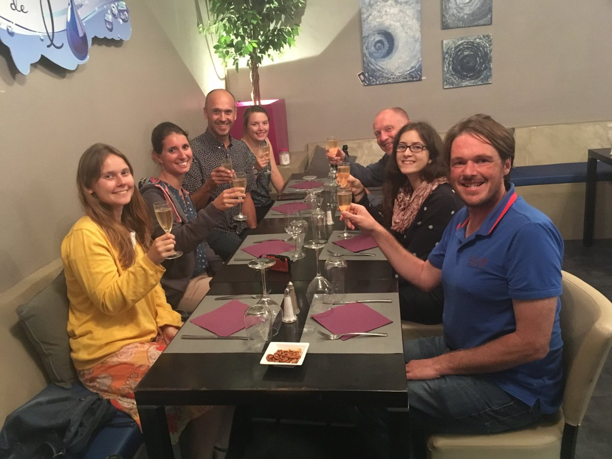 Our Corbieres group our celebrating @AurorePonchon having her paper on interactions between fisheries and seabirds accepted by Current Biology. Reward for lots of hard work and persistence. @r_allgayer @watts_km @MKHolgate