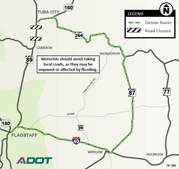 Map Of Arizona I40.Arizona Dot On Twitter Updated Us 89 Detour Map Us 89 Is Expected