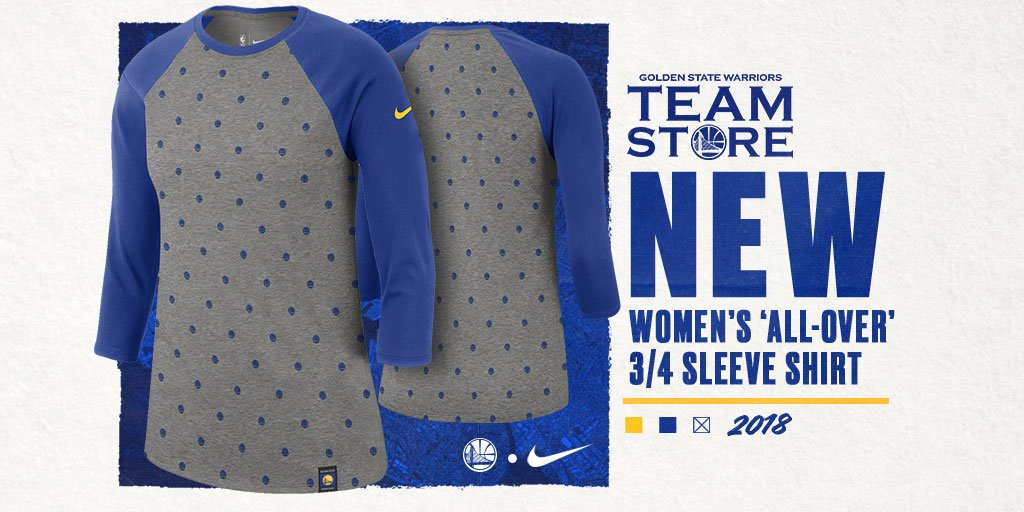 Ladies, looking to Rep @warriors in Unique Comfort & Style? Check out the NEW All Over 3/4 Sleeve Shirt from @Nike 🔥 🛒-–>bit.ly/DubsAllOver #DubNation #Womens #DriFit #GSW #Warriors #NEW #comfortable