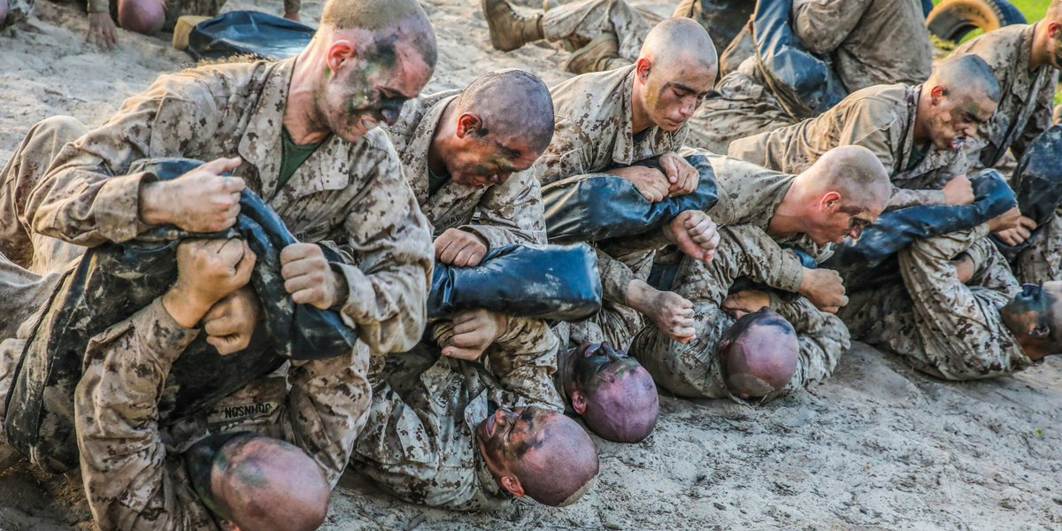 Fight-for-Life Drill Recruits with @MCRDPI execute a fight-for-life drill during the Crucible.