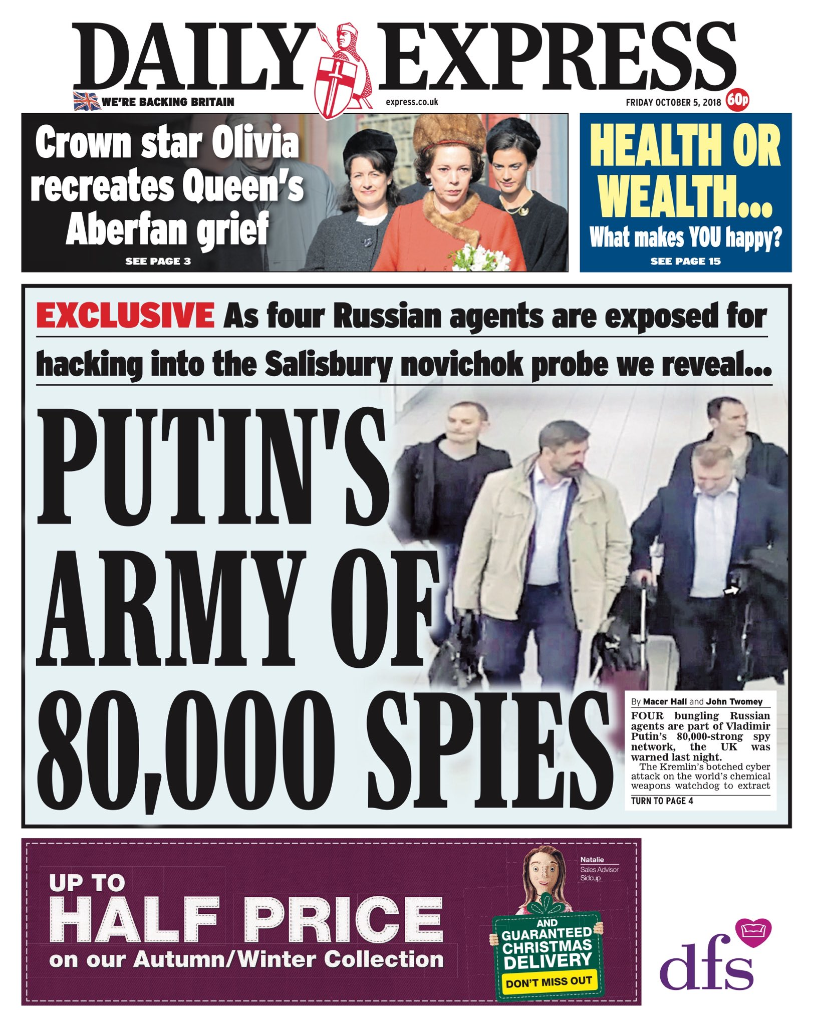 "Friday's Daily EXPRESS: ""Putin's Army Of 80,000 Spies"" #bbcpapers #tomorrowspaperstoday https://t.co/KKlVtp0tKv"