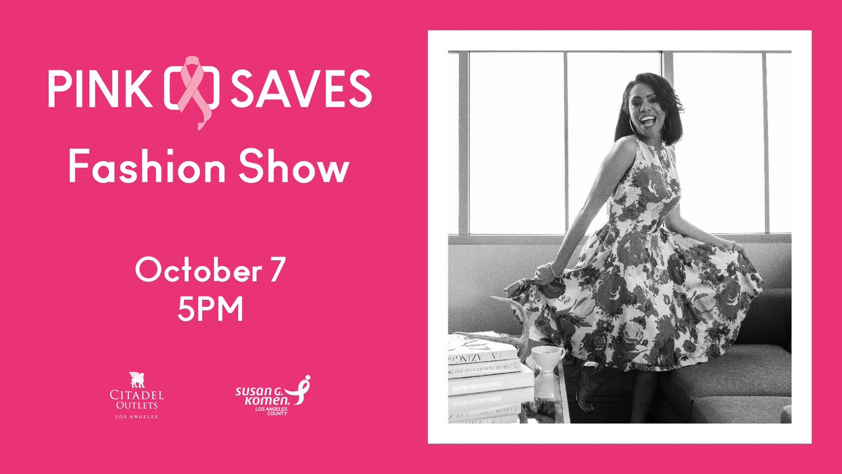 This Sunday at 5pm, @Citadel_Outlets and @KomenLA are hosting the Pink Saves Fashion Show in support of breast cancer awareness. Over 30 BC survivors & thrivers will walk the runway dressed in luxury styles from around the center! More info at https://t.co/l439LHKs7Q. #PinkSaves https://t.co/PkFdyHSlks
