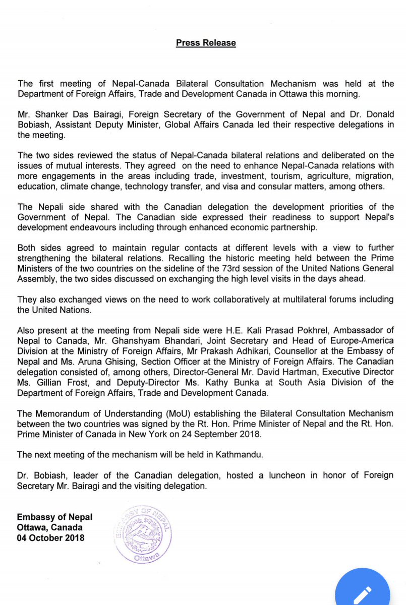 Mofa Of Nepal On Twitter Foreign Secretary Mr Shanker Das Bairagi Leads Nepali Delegation To The First Meeting Of Nepal Canada Bilateral Consultation Mechanism Press Release Https T Co F2gcihytr4