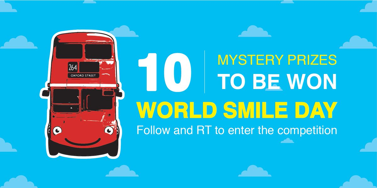 Full of smiles today. It&#39;s FRIYAY, and it&#39;s #WorldSmileDay. We&#39;re giving away ten mystery prizes to give you something to #smile about this weekend. Follow and RT to enter… #RedBus #Competition #win #SmileDay #FridayFeeling #friyay <br>http://pic.twitter.com/Ww8Z5yGhtG