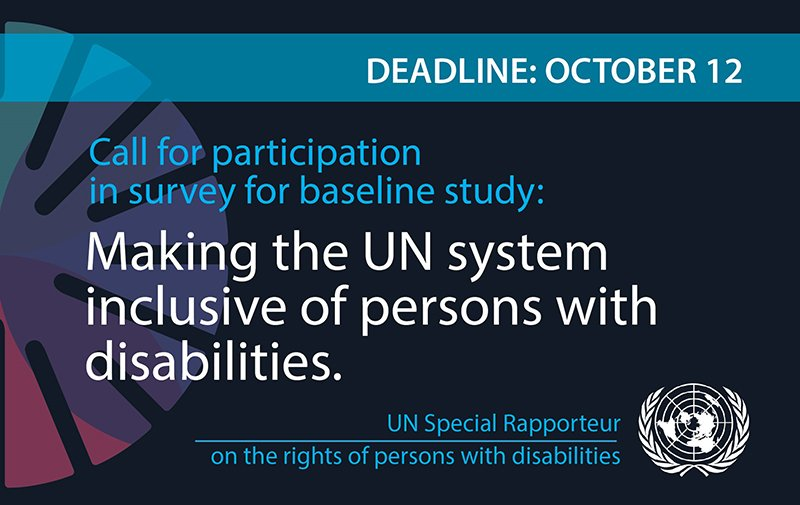 We are working on comprehensive baseline study of UN practices to improve the system's accessibility and inclusion. Participation of leaders of DPOs is critical to its success. Here's link to take the survey: https://www.surveymonkey.com/r/LG6W9VX. Please participate & share to your networks!