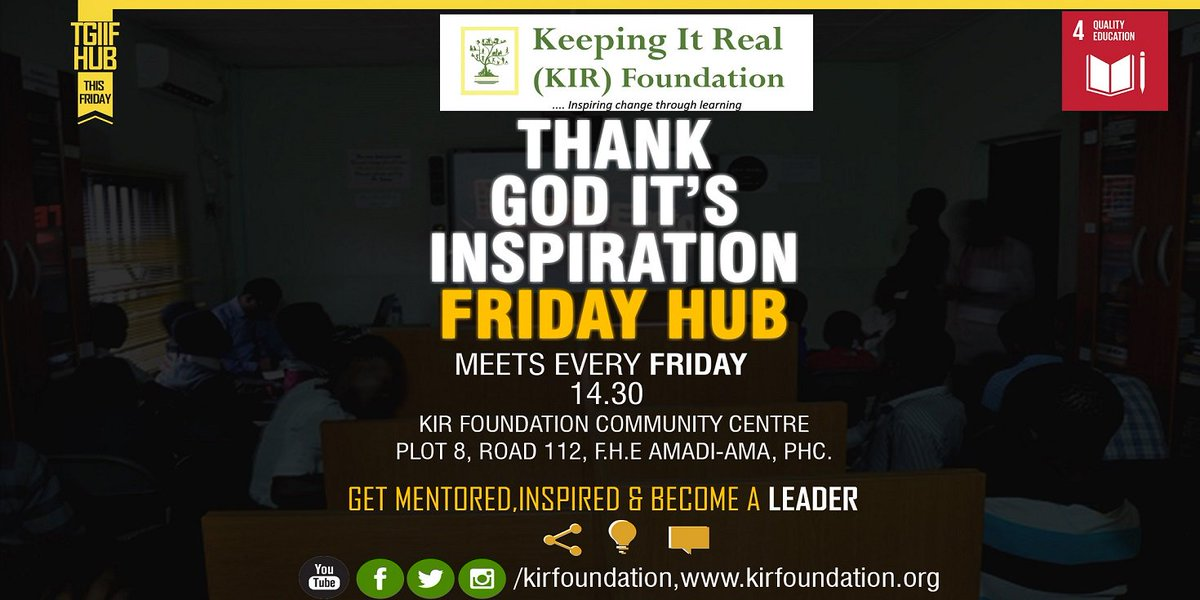 'Thank God It's Inspiration Friday' #TGIIF is an Inclusive Hub for Teens and Youths, packed with fun, engaging, educating, inspiring and mind developing sessions. #FridayFeeling #FridayMotivation  #BuenViernes #WorldSmileDay #WorldTeachersDay <br>http://pic.twitter.com/OnhWbcA2yM