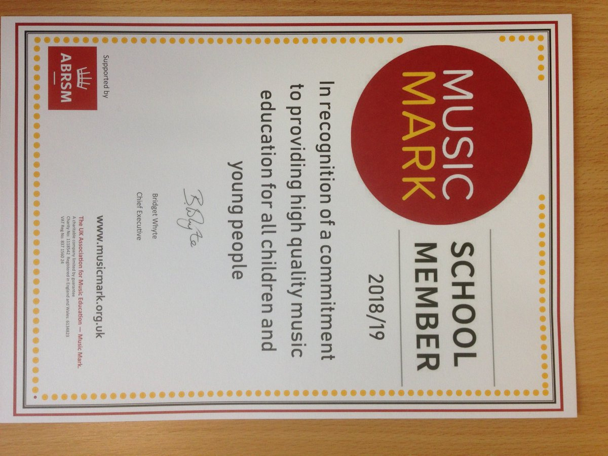 Huge congratulations to our fabulous Music Department who have been awarded the prestigious Music Mark for offering a 'high quality music education' at the school. Richly deserved! @musicmarkuk https://t.co/bUC7hHYuhe