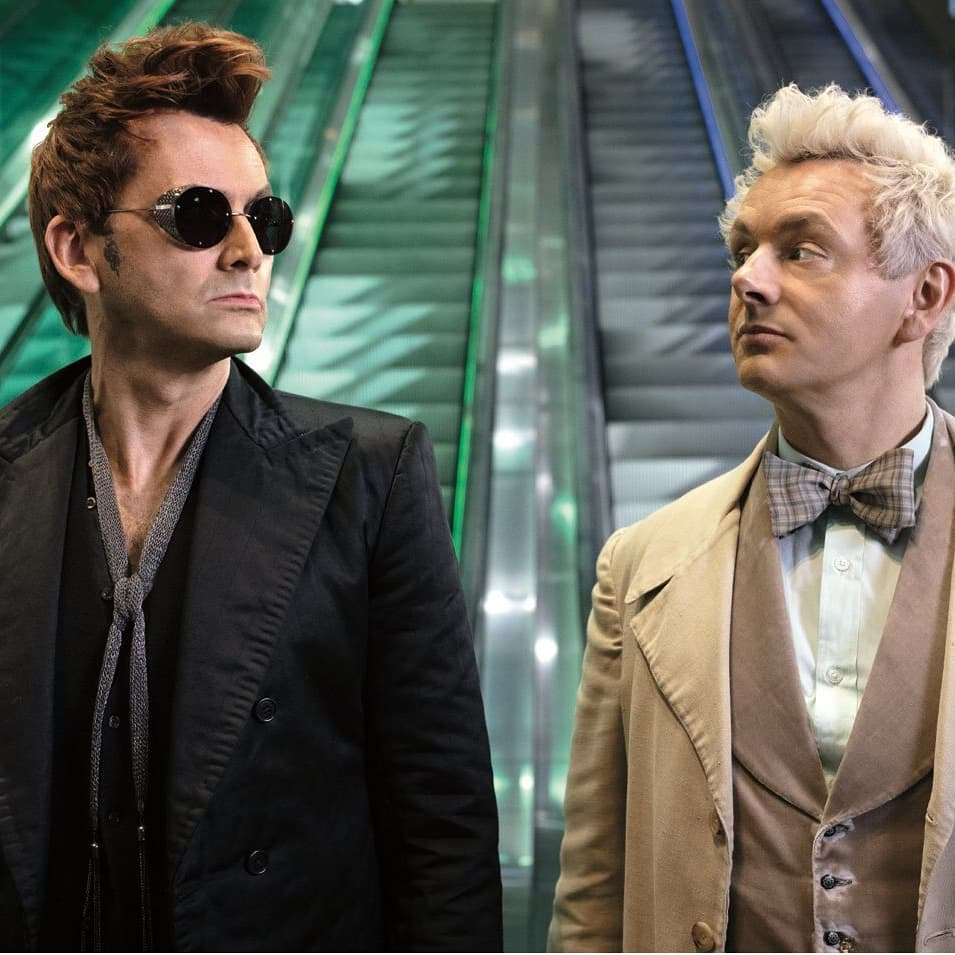 Good Omens promo photo of David Tennant and Michael Sheen