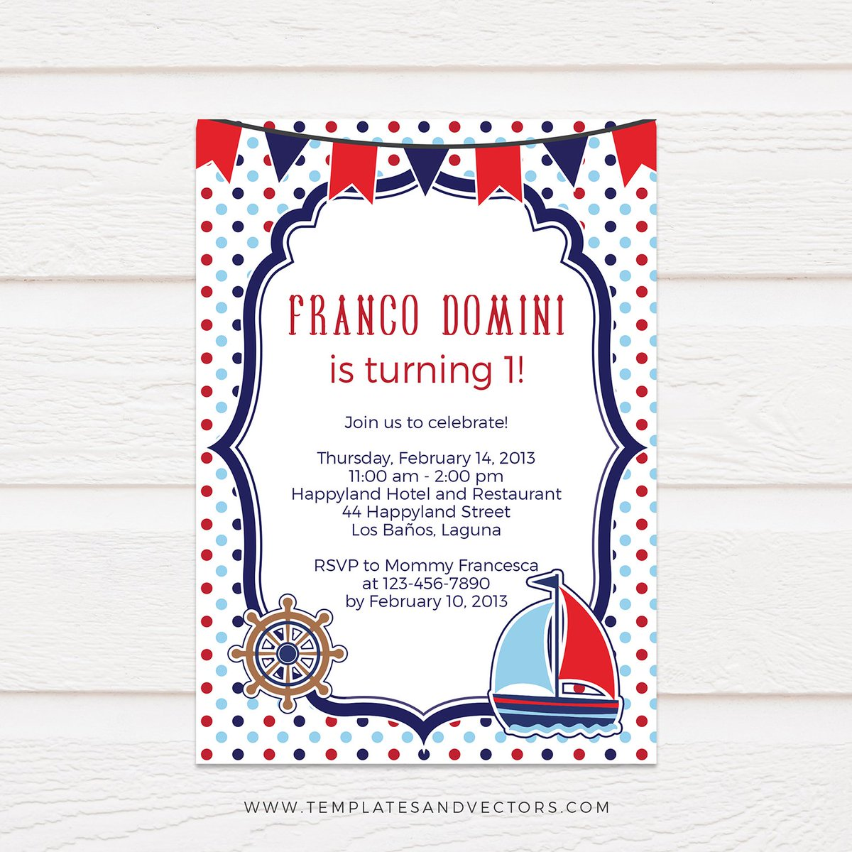 Polka Dots Nautical Birthday Invitation Template Available On Our Website