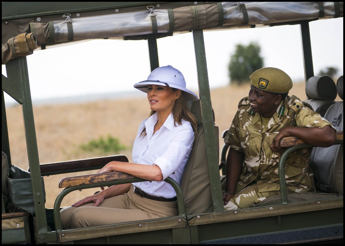 .@FLOTUS looks towards the zebra's as she visits the Safari at Nairobi National Park in Kenya. #FLOTUSinAfrica2018
