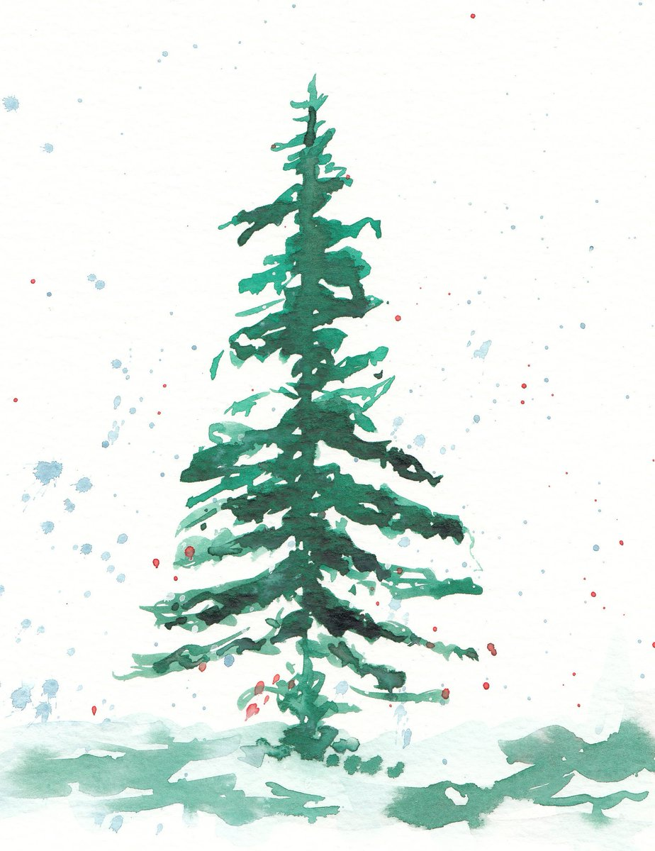 Etsysocial On Twitter Christmas Tree Watercolor Https T Co