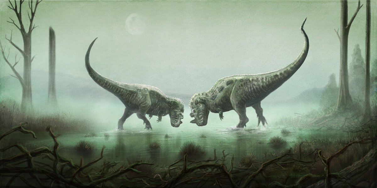 Some dancing Ceratosaurus #paleoart for #Fossilfriday. Note complete lippage over their huge teeth: Ceratosaurus jaw bones seem really smooth and lizard like in texture - no indications of weird skin tissues or reduced lips. <br>http://pic.twitter.com/is2iF9gPlg