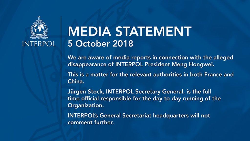 Hasil gambar untuk Interpol president reported missing during trip to China /wapo/GIF