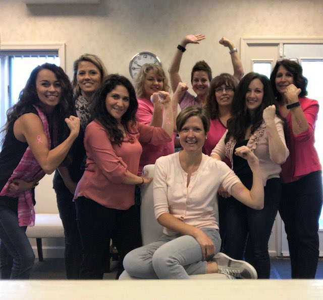 Our wonderful teammate, Brenda Wittenbauer with our awesome client, Dr. Caitlin Batchelor and team - Thinking Pink for Breast Cancer Awareness Month! #thinkpink #jamesonthinkspink