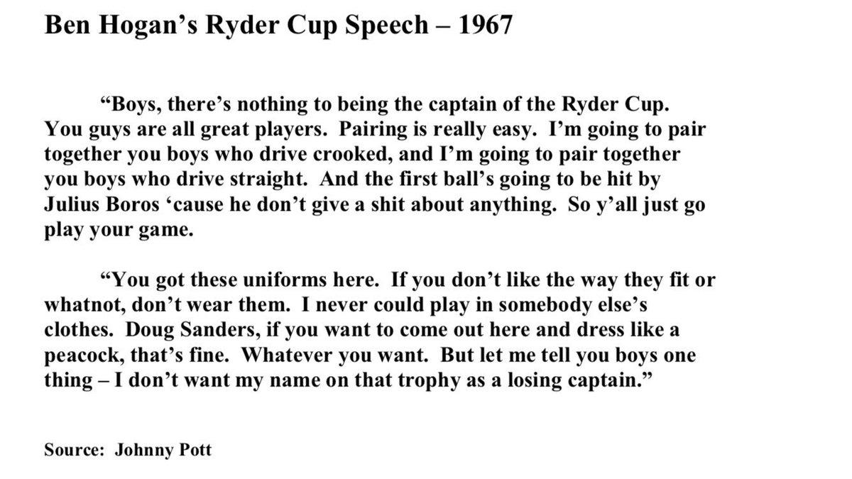 Ben Hogan's speech to his Ryder Cup team 1967. https://t.co/5ciKL5vThx
