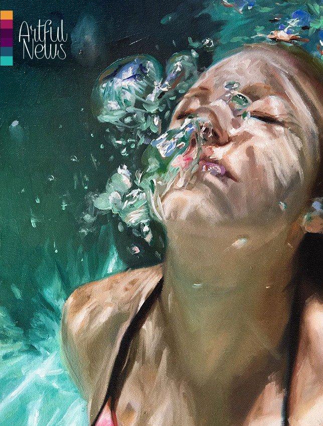 underwater painting of people by houston - HD880×1293