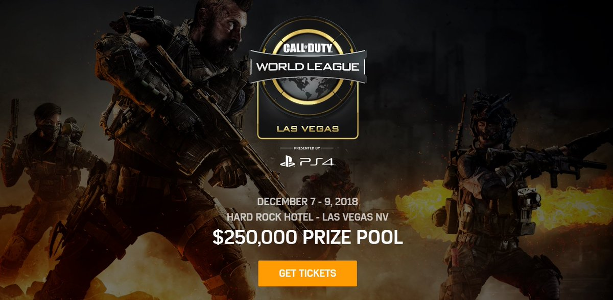 Tickets for the first #CWLPS4 #BlackOps4 event of the season are now available!   🏟 @HardRockHotelLV 📅 - December 7-9, 2018 💰 - $250,000 🎫→ https://t.co/nrkHG7IOmf