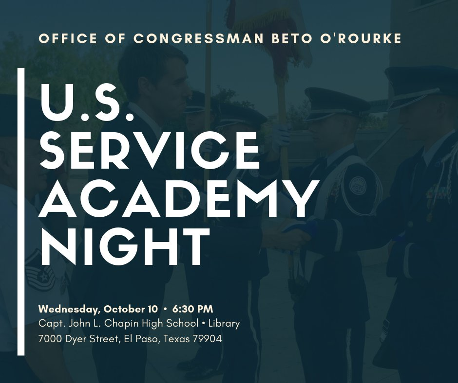 Join us! Learn all about the U.S. Service Academies and how the Congressional Nomination process works. We will have our entire nomination selection committee at hand to answer any questions you may have.   More info here: https://www.facebook.com/events/245481962988300/…