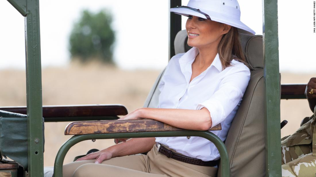 52dad2d8acc72 First Lady Melania Trump donned a white pith helmet during a safari in Kenya  on Friday