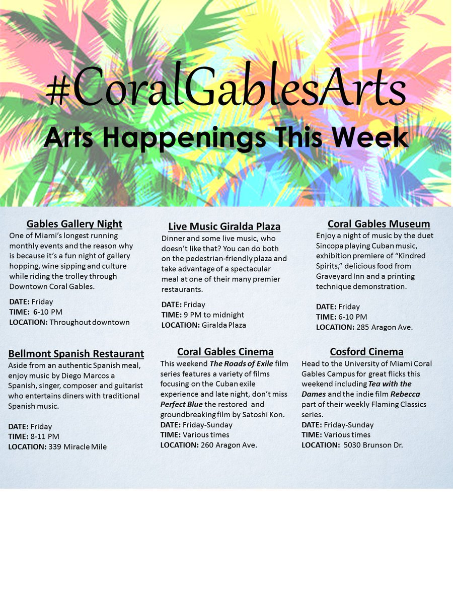 Artburst On Twitter Get Cultured In The Gables This Weekend With