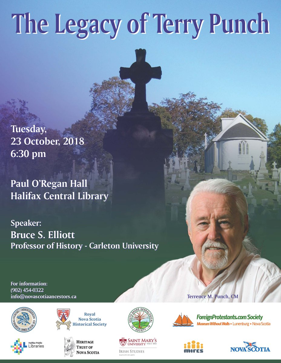 test Twitter Media - On October 23rd, the NS heritage community will honour one of Nova Scotia's most beloved genealogists, Terry Punch. Speaker Dr. Bruce Elliott, of @Carleton_U, will discuss Terry Punch's contributions as an educator, researcher, and champion of Nova Scotia family history. https://t.co/PoafivvsOW