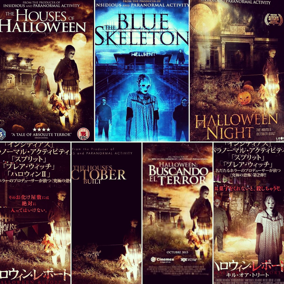 Here are some of the international posters and different titles changes from around the world of #TheHousesOctoberBuilt & #TheHousesOctoberBuilt2 #TheBlueSkeleton #HousesofHalloween #Halloween