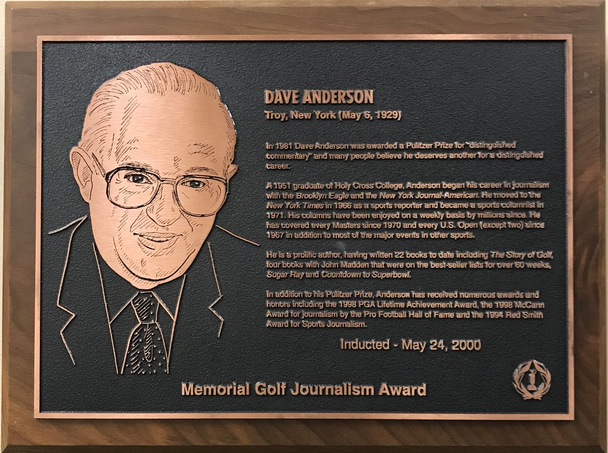 Our #theMemorial family lost a legend with the passing of Pulitzer Prize-winning columnist & reporter and Memorial Golf Journalism Award winner, Dave Anderson. A member of the Memorial's Journalism Committee, Dave had a true passion for golf. He will be dearly missed!