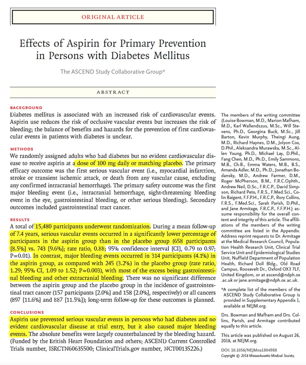 Eric Topol On Twitter David Your Assertion That Low Dose Aspirin Reduces Heart Attacks Strokes Colon Cancer And Overall Cancer Isn T Supported By Multiple Recent Randomized Trials Https T Co Rlkrr1senm Https T Co Trwhxggodx