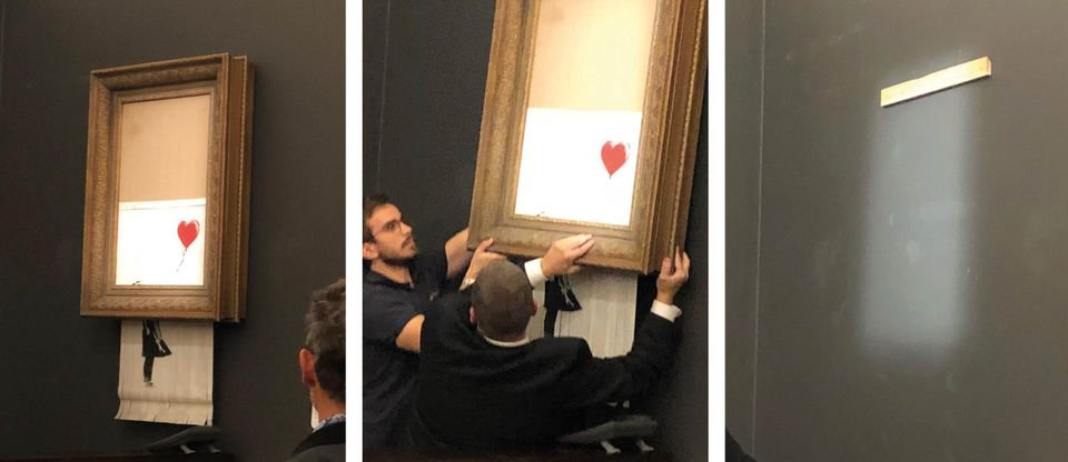 Sotheby's 'Banksy-ed' as painting 'self-destructs' live at auction https://t.co/HgOYh7ZmnQ