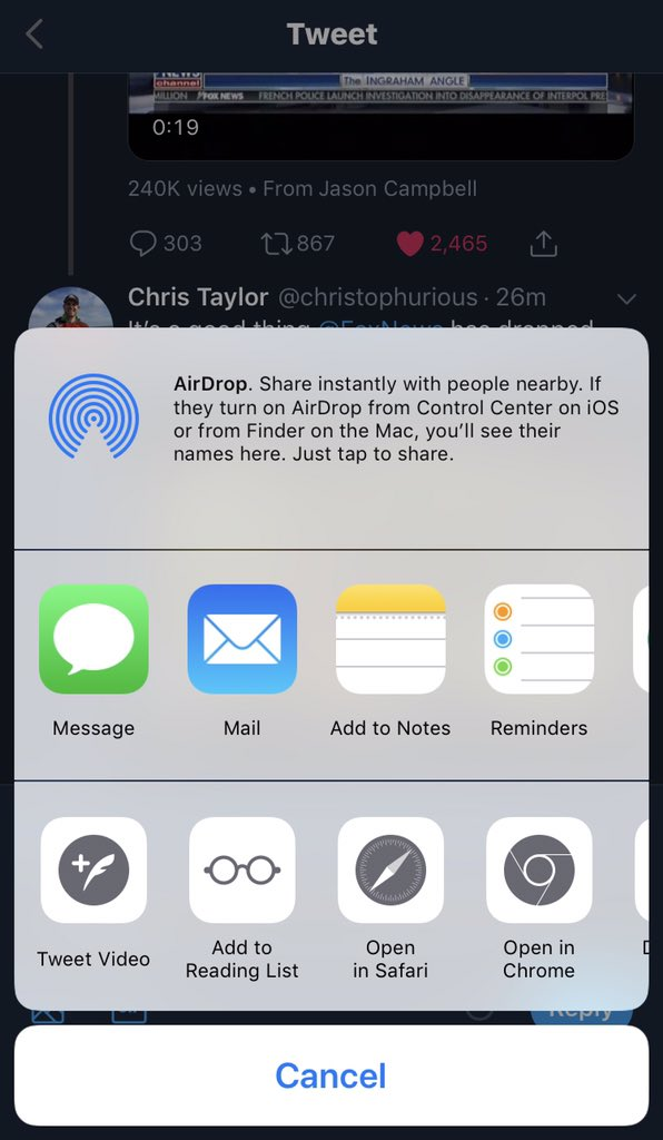 """Using the twitter app. I can press and hold on the video to bring up a share submenu.  If you choose the """"tweet video"""" option it will start a blank tweet with a special imbed link.  You can caption and send or copy the link."""