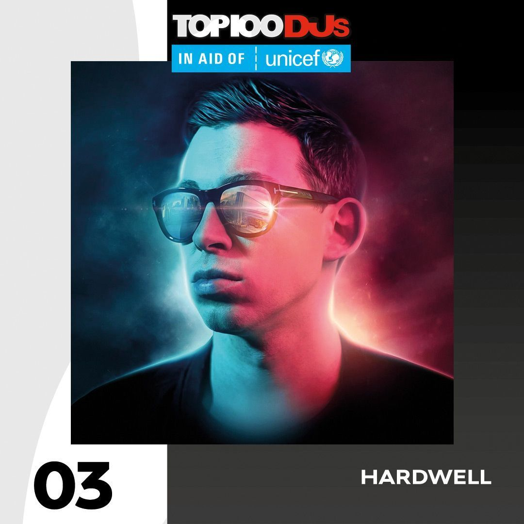 Up one place to No. 3, it's @HARDWELL #Top100DJs in aid of @Unicef_UK