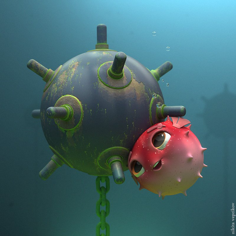 """DeviantArt on Twitter: """"Q: What did the pufferfish say to ..."""